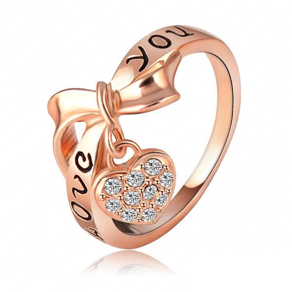 Lzeshine marca black esmalte amor você anel coração arco 18 k rose placa de ouro austríaco cristal elemento swa anéis anel palavra ri-hq1055-a