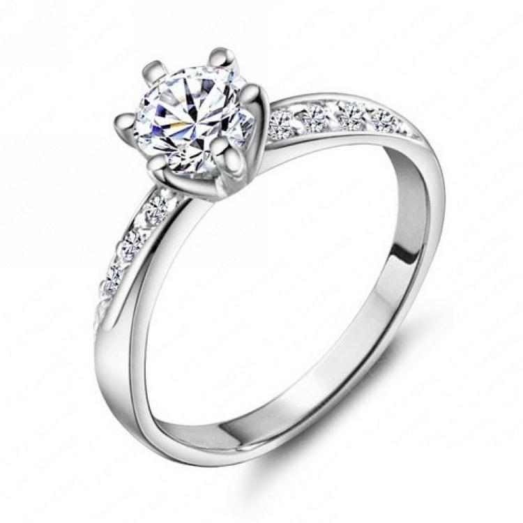 Ehering Klassische Design Echt Platin Überzogene 6 Zinken 0.5ct Simulierte Diamant Versprechen Ringe Für Frauen FreeShipping CRI0049-B