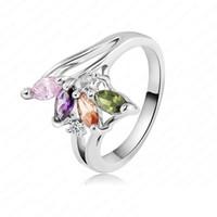 Wholesale female fingers - Delicate Gorgeous Ring 18K Rose Gold Platinum Plating Genuine Zircon Female Finger Ring RIC0036