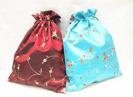 $enCountryForm.capitalKeyWord NZ - Elegant Embroidery Fruit Portable Shoe Bag Travel Storage Bag Folding Drawstring Reusable Satin Dust Cloth Bag with lined