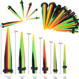 Wholesale Ear Piercings Tapers - 48PCS Acrylic Ear Plug Taper Kit Gauges Expander Stretcher Stretching Piercing Free Shipping[BC119(12)*4]