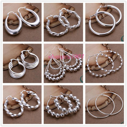 Wholesale Dangle Drop Beads - Mix style 925 Silver jewelry Charming women girls Oval Round Beads Hoop Drop Earrings 30Pair Multi Choices mix order Free shipping Best gift