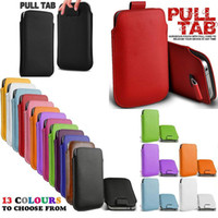 Wholesale Pull Tab Cover - High Quality PU Leather Pull TAB 13 Colors Slide In Phone Case Cover Pouch For iPhone 5 5S Slider Case Free Shipping MOQ:10pcs