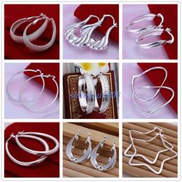 mode mode ohrringe Rabatt 25Pairs Mischauftrag Art- und Weisecharmevolle Vogue-runde Oval baumeln Ring-Silber-Tropfen-Ohrringe des Ring-925 freies Verschiffen Bestes Weihnachtsgeschenk