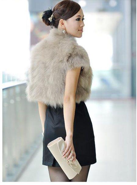 2017 Zima Faux Fur Kamizelka Kobiety Fox Fur Coat Moda Krótka Kamizelka Płaszcz Stojak Stojak Kołnierz Kurtki Bez Rękawów Ladies Girls Waistcoat W48