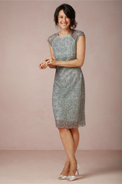 Wholesale Mother Top Dress - 2014 Top Knee Length Mother of the Bride Dresses High Quality Stain With Lace Cap Sleeve Sheath Crew MBD-12