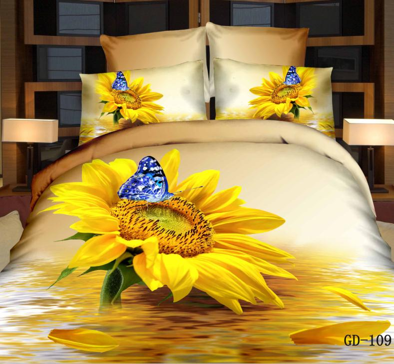 Wonderful New 3D Bedding Sets Reactive Printing Sunflower Quilt Duvet Cover Bed Sheet Pillowcase Four Piece Queen Size/King Size