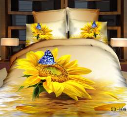 Wholesale Queen Size Cotton Sheet Sets - Wonderful New 3D Bedding Sets Reactive Printing Sunflower Quilt Duvet Cover Bed Sheet Pillowcase Four Piece Queen Size King Size