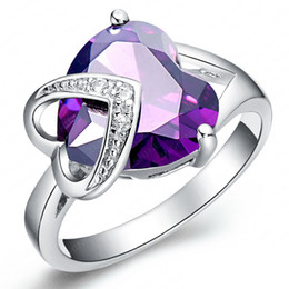 Wholesale Unique Engagement Ring Styles - Unique Style Wedding Rings Simulated Women Jewelry Real Platinum Plated Double Heart Engagement Diamond Rings CRI0057-B