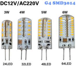 Wholesale G4 Led 4w - G4 led bulbs 3W 4W 5W 6W SMD 3014 LED Crystal lamp light DC 12V   AC 220V Silicone Body LED Chandelier Bulb 24LED 32LED 48LED 64LEDs White
