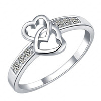 ingrosso amore anelli di promessa wedding wedding-Eternity Love Promise Anelli per le donne Real Platinum placcato Double Heart Wedding Engagement Ring CRI0047-B Gioielli all'ingrosso