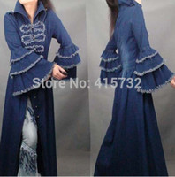 Wholesale Size Coat Maxi - Free Shipping 2015 Fashion Long Maxi Trench Dress For Women Vintage Denim Outerwear Tassels Flare Sleeve Plus Size Royal Coat long dresses