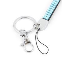 Wholesale Id Badge Holder Rhinestone - Wholesale-1pcs Sky Blue Rhinestone Lanyard Crystal Bling Custom Lanyard & ID Badge Cellphone w  Key Holder Ring
