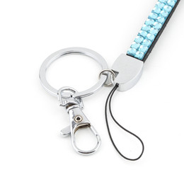 Wholesale Bling Key Rings - Wholesale-1pcs Sky Blue Rhinestone Lanyard Crystal Bling Custom Lanyard & ID Badge Cellphone w  Key Holder Ring