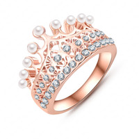Wholesale luxury pearl rings - Princess Crown Ring 18K Rose Gold Plate Made With Austrian Crystal & Pearl Ball Luxury Elgent Women Ring Wholesale Ri-HQ0375-A