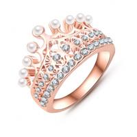 perlenringe großhandel-Prinzessin Crown Ring 18K Rose Gold Plate mit österreichischen Kristall Perle Ball Luxus Elgent Frauen Ring Großhandel Ri-HQ0375-A gemacht