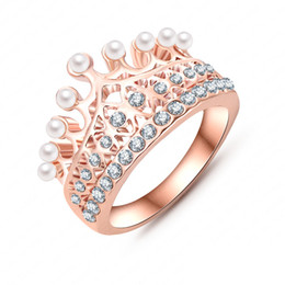 Wholesale Austrian Crystals Rings - Princess Crown Ring 18K Rose Gold Plate Made With Austrian Crystal & Pearl Ball Luxury Elgent Women Ring Wholesale Ri-HQ0375-A