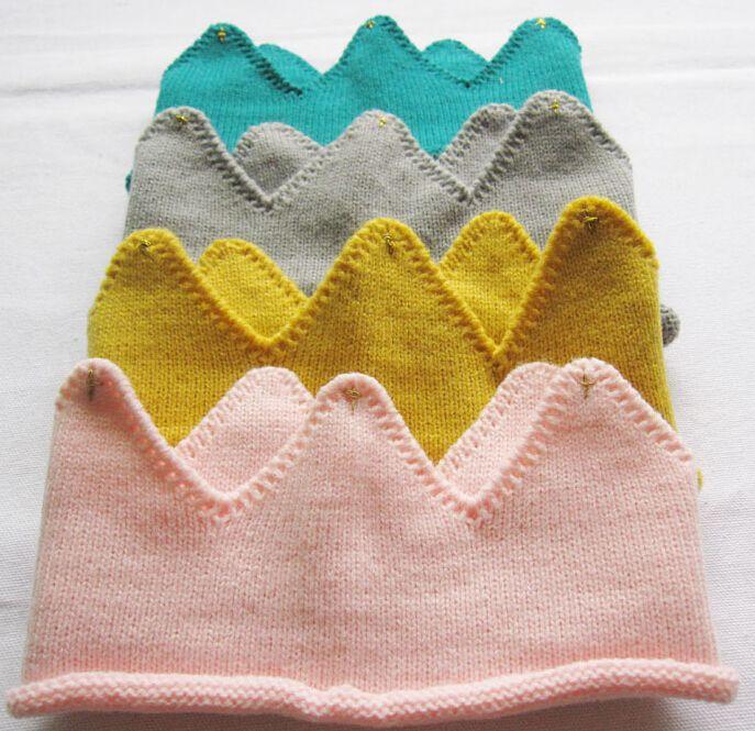 Baby stricken Krone Tiara Kids Infant Crochet Stirnband Kappe Hut Geburtstag Party Fotografie Requisiten Beanie Bonnet