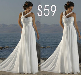 Wholesale Vintage Silver Cross - Cheapest Chiffon Wedding Dresses A Line Sweep Train White Bridal Gowns Sweetheart Lace Up Back Halter Bridal Dress With Hand Made Floral