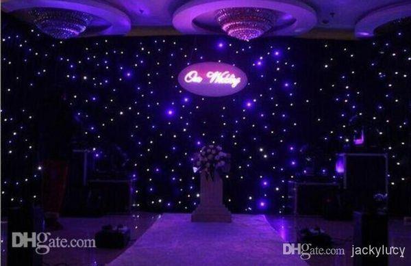Luxo Cor Azul-Branco LEVOU Estrela Cortina Pano de Cenário de Casamento Pano Com Controlador DMX512 Para Decoração de Casamento Suprimentos