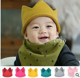 d2f7bba79a1 Baby Knit Crown Tiara Kids Infant Crochet Headband cap hat birthday party Photography  props winter Beanie Bonnet gift