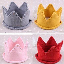 birthday photography 2019 - Fashion Baby Knit Crown Tiara hats Kids Infant Crochet Headband cap hat birthday party Photography props Children winter