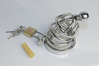 Wholesale Bdsm Male Chastity - clainless steel Chastity belt CB cock cage with catheter Male chastity penis locked five rings chastity devices sex toys bdsm products