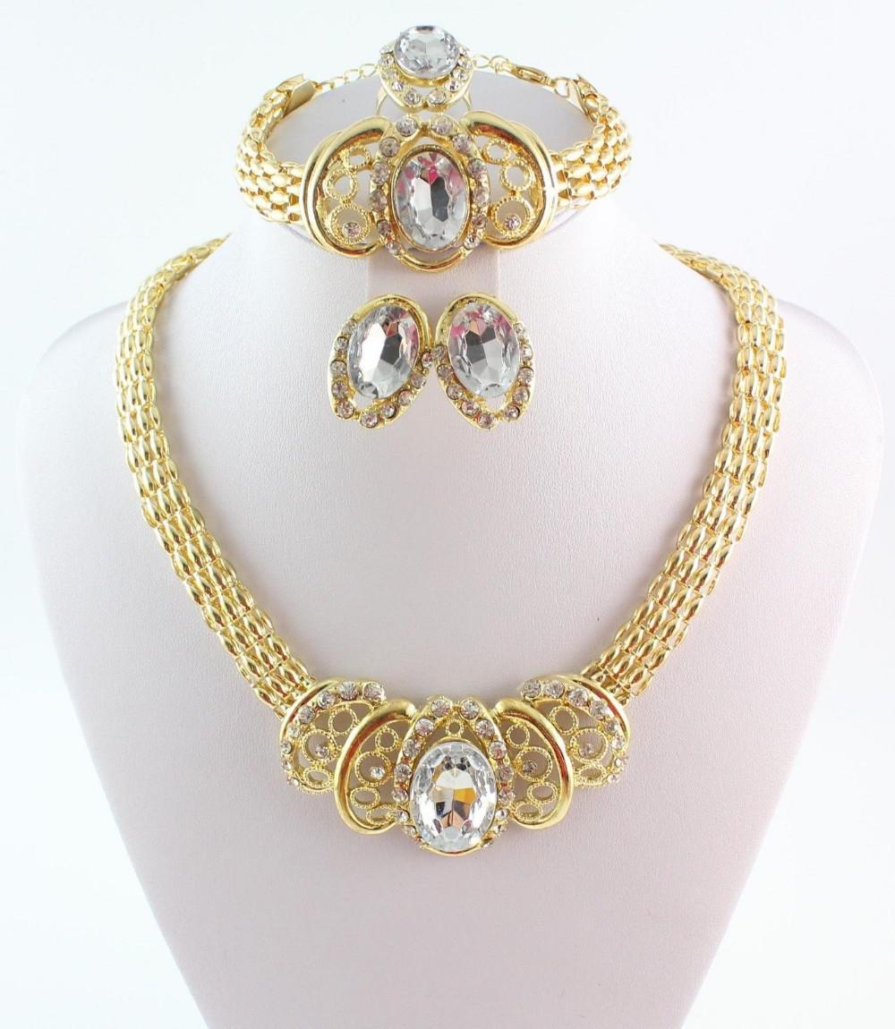 Novos Conjuntos Africano banhado a ouro colares pulseiras RNG brincos para Conjuntos de Jóias Acessórios Femininos Wedding banhado a ouro strass