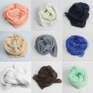 Wholesale Korean small fresh pure Bali silk fringed scarf monochrome cotton yarn in autumn and winter female shawl wholes chiffon Scarf Scarf White
