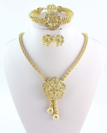 Wholesale Good Party Flowers - New Design Jewelry Sets 18K Gold Plated Flower Necklace Charming Fashion Good Quality Bridal Wedding Costume