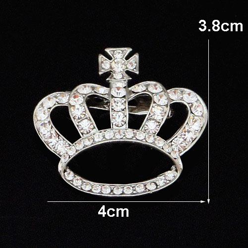 Sparling Clear Crystals Silver Alloy Crown Brooch High Quality Diamante Women Cross Brooch Pins Hot Selling Cheap Wholesale