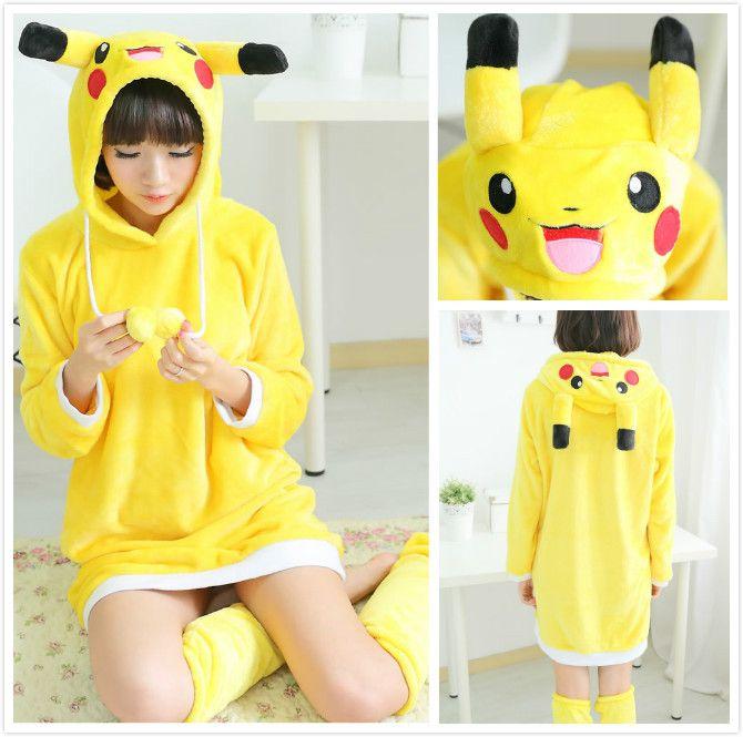 2018 Anime Pokemon Pikachu Yellow Warm Winter Spring Hooded Robes ...