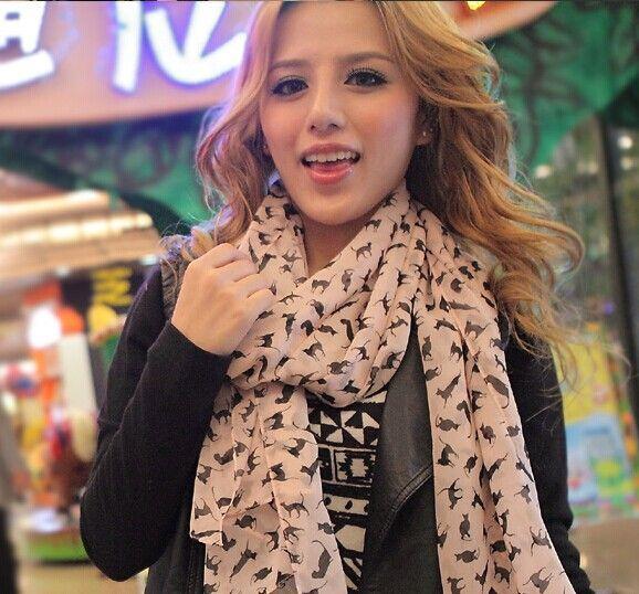 Foulards en soie de mode Chat sexy Longue écharpe en mousseline de soie Châles Marilyn Monroe Protection solaire de Noël Cadeaux de Noël multicolore /