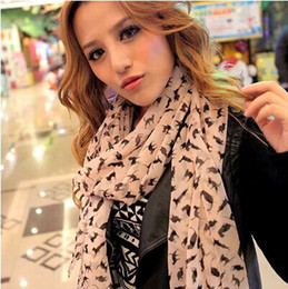 Wholesale Long Silk Scarves Wholesale - Fashion Silk Scarves Sexy cat Long Scarf chiffon Shawls Marilyn Monroe Women's sunscreen Christmas gifts multicolor 10pcs lot