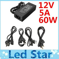 Wholesale Ac 5a Eu - Hot Sale AC 110-240V To DC 12V 5A 60W Power Supply + 1.2m Cable With EU AU UK US Plug + Warranty 3 Years
