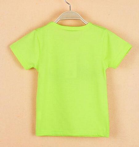T-shirt ras du cou à manches courtes en coton à manches courtes pour enfants 2015