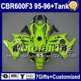 Wholesale 1996 Cbr F3 Green Fairing - Tank&7gifts F3 For HONDA 53# CBR600F3 1995 1996 Free ship Yellow green CBR 600 1995-1996 95 96 FM1892 CBR600 F3 CBR 600F3 Fairings