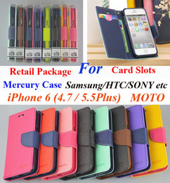 Wholesale Leather G3 Iphone Flip Case - Mercury Wallet PU Flip Leather Stand Case With Card Slots For iPhone 6 4.7 Plus 5.5 Samsung Galaxy Core Lite G3586 LG G3 Mini Sony Xperia Z3