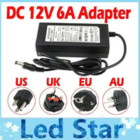 luzes de cabo led venda por atacado-100% 6A 72 W 12 V Transformador Adaptador Para LED Strip Light CCTV Camera + 1.2 m Cabo Com UE / AU / EUA / UK Plug