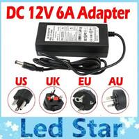 adaptador de carga uk al por mayor-100% 6A 72W 12V Carga del adaptador del transformador para la luz de tira del LED CCTV Camera + 1.2m Cable con el enchufe de EU / AU / US / UK