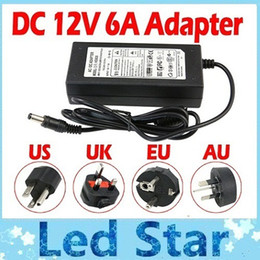 Fiche de câble cc en Ligne-12V 6A AC DC Transformers Adapter Charge For High Bright 72W 12V Led Strips + 1.2m Cable With EU UK AU US Plug