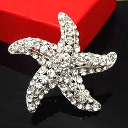 Wholesale Celtic Brooch Bouquet - Stunning Diamante Starfish Brooch Top Quality Crystals Star Brooch Pins Women Party Elegant Bouquet Pins Corsage