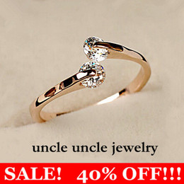 Wholesale Engagement Wedding Band Rings - On Sale Woman 2 Zirconia Ring Rose Gold Plated Never Let Go Twin Crystal Fashion Finger Ring Wholesale 18krgp stamp