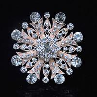 Wholesale Rhinstone Pins - Luxury Top Quality Clear Crystal Big Snowflake Gold Tone Gift Brooch For Women Stunning Rhinstone Wedding Aceessories Pins
