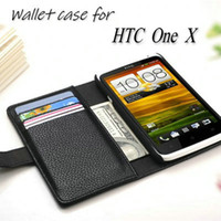 Wholesale Book Holder Phone Case - Wholesale-Luxury Wallet Stand Design Leather Case for HTC One X S720e G23 Phone Cover with Card holder Book Style 8 Colors