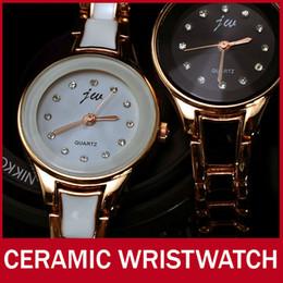 Wholesale Women Diamond Ceramic Watches - Wholesale-Luxury Fashion Ceramic Band Gold Women Girl Watch Diamond Bling Vintage Bracelet Quartz Wrist Watch Shock Resist Free Shipping