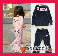 Wholesale Dog Sweat Shirts - MOQ=5sets lot Baby Kids girls set pink set sport wear outfit sweat shirt Pink   Navy Blue Children Clothes with dog drop shipping