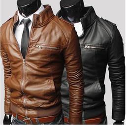 Wholesale Horizontal Zipper Slim Washing Pu - new Men's Horizontal zipper Slim washing PU Leather Leather motorcycle Jackets Coat Outerwear