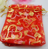 Atacado - 100Pcs Laxury Organza Jóias Packing Pouch Wedding Favor Red Heart Gift Bags 12x9cm
