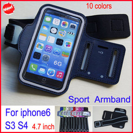 Wholesale Iphone 5s Gym - 10 colors Universal Sport ArmBand Leather Case Soft Belt Arm Band For iPhone 6 iPhone 5 5c 5s Samsung S3 S4 Waterproof Gym Running Armband